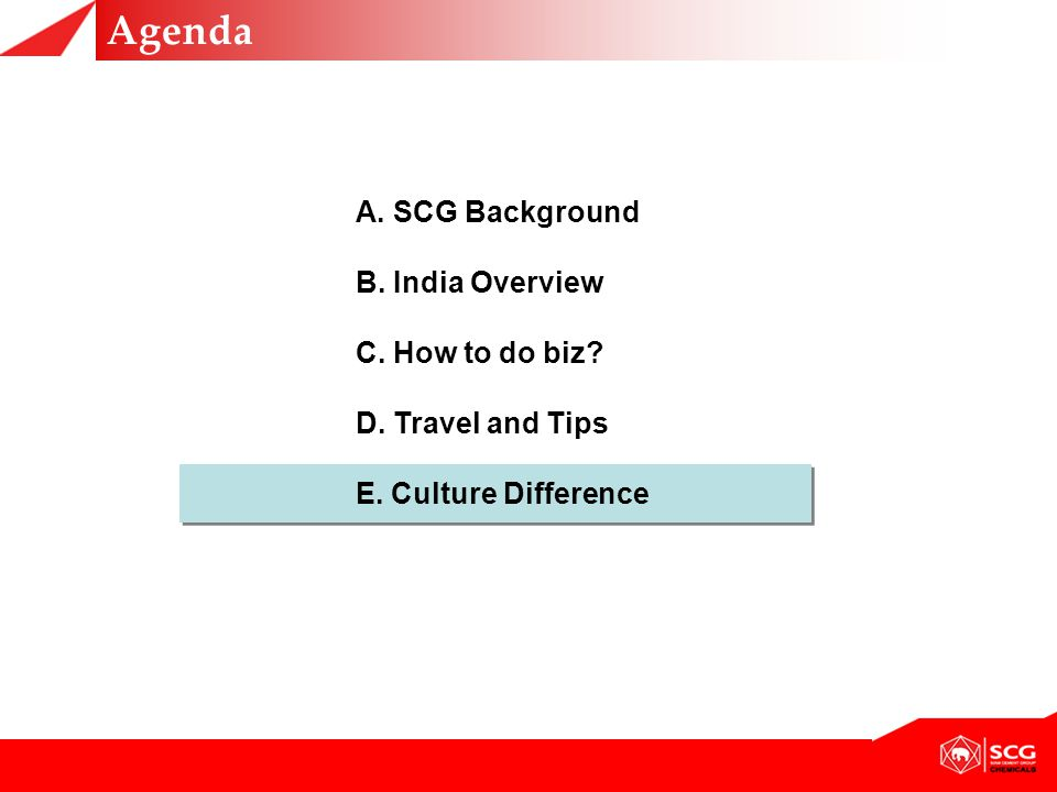 Agenda A. SCG Background B. India Overview C. How to do biz