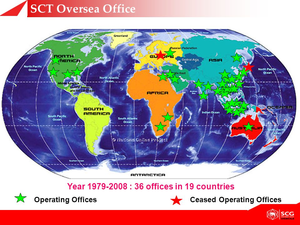 Year 1979-2008 : 36 offices in 19 countries