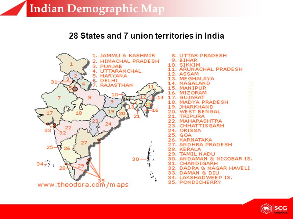 28 States and 7 union territories in India