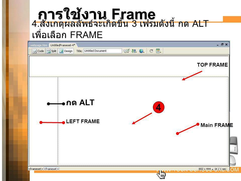 การใช้งาน Frame 4.สังเกตุผลลัพธ์จะเกิดขึ้น 3 เฟรมดังนี้ กด ALT เพื่อเลือก FRAME. TOP FRAME. กด ALT.