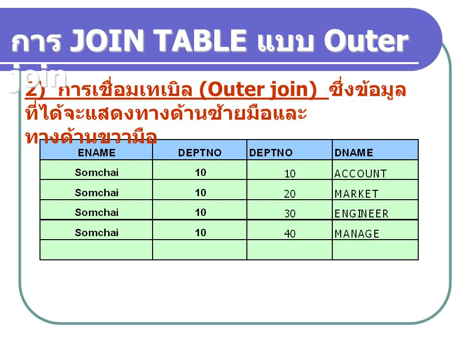 การ JOIN TABLE แบบ Outer join