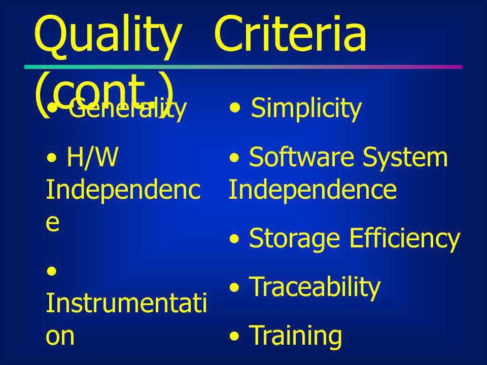 Quality Criteria (cont.)