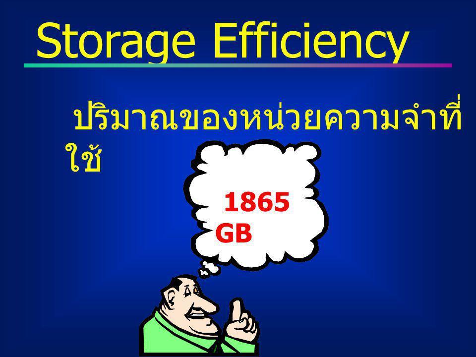 Storage Efficiency ปริมาณของหน่วยความจำที่ใช้ 1865 GB