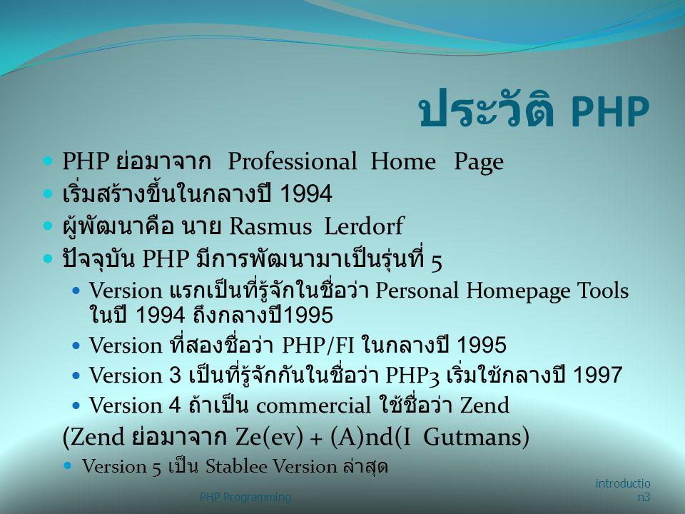 ประวัติ PHP PHP ย่อมาจาก Professional Home Page