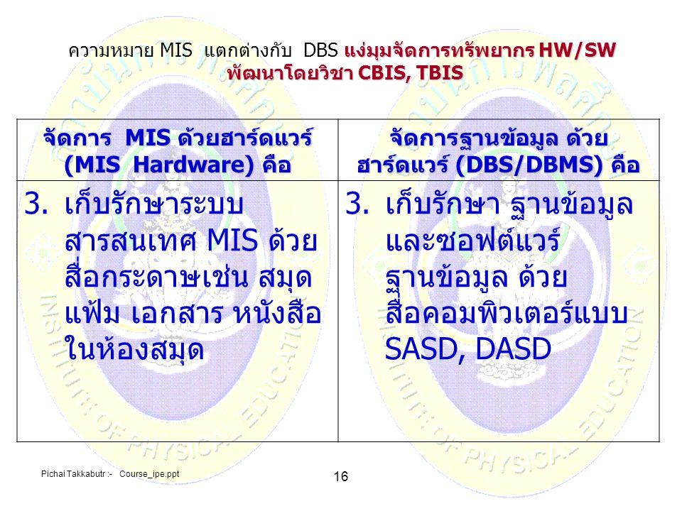 ความหมาย MIS แตกต่างกับ DBS แง่มุมจัดการทรัพยากร HW/SW