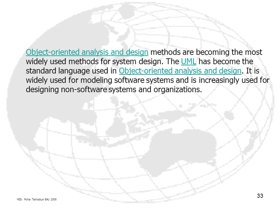 Object-oriented analysis and design methods are becoming the most widely used methods for system design. The UML has become the standard language used in Object-oriented analysis and design. It is widely used for modeling software systems and is increasingly used for designing non-software systems and organizations.