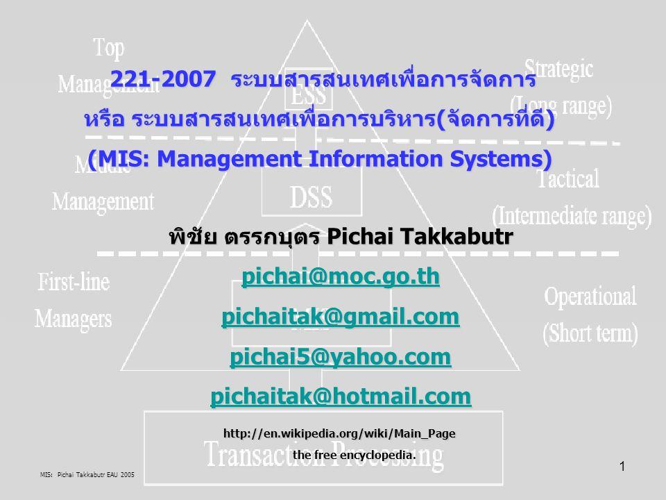 221-2007 ระบบสารสนเทศเพื่อการจัดการ