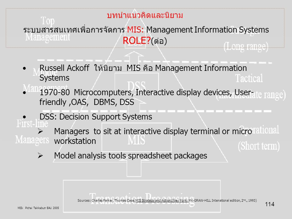 Russell Ackoff ให้นิยาม MIS คือ Management Information Systems