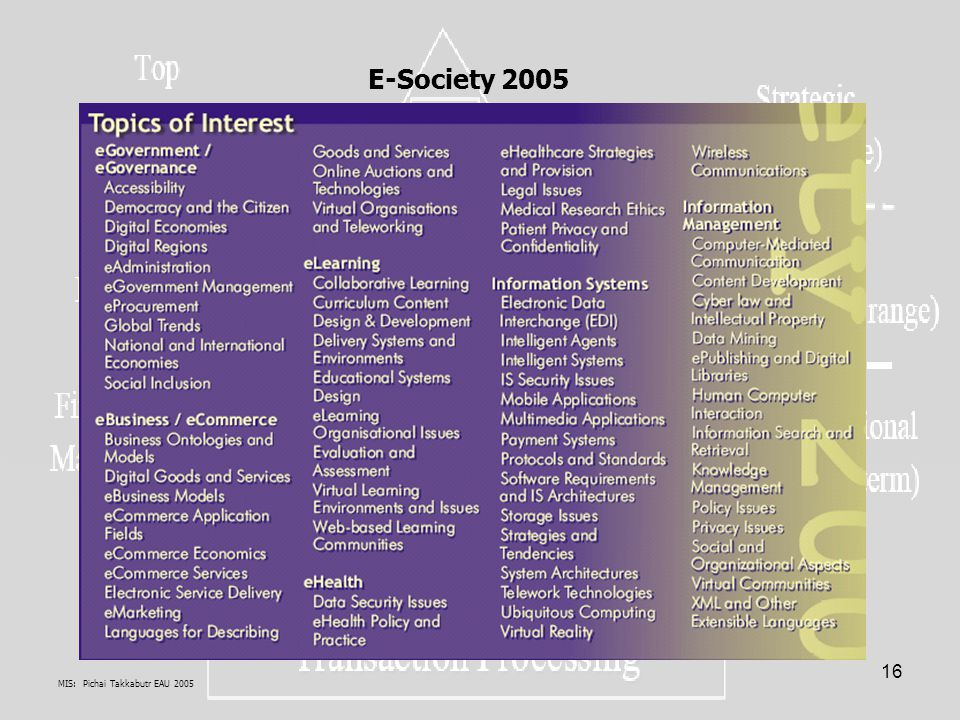 E-Society 2005 MIS: Pichai Takkabutr EAU 2005