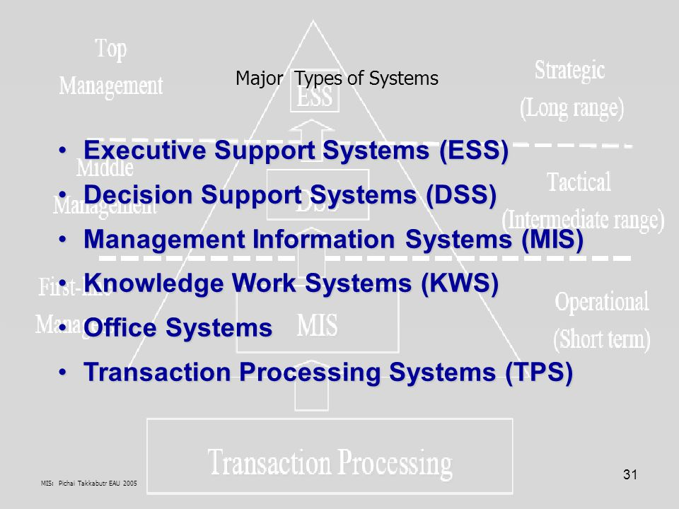 Executive Support Systems (ESS) Decision Support Systems (DSS)