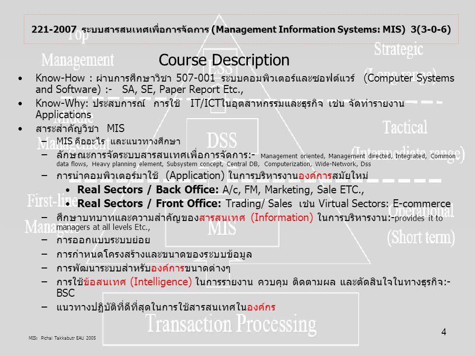 221-2007 ระบบสารสนเทศเพื่อการจัดการ (Management Information Systems: MIS) 3(3-0-6)