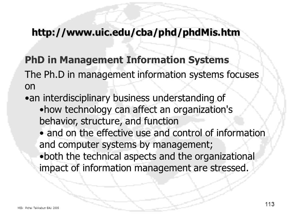 PhD in Management Information Systems