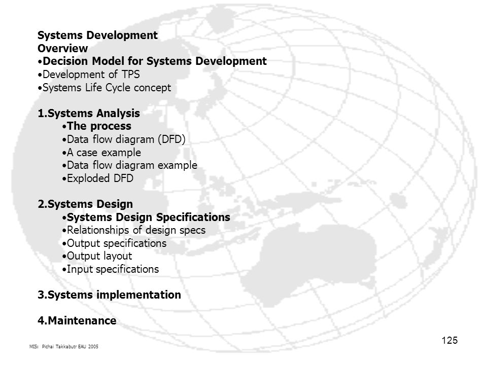 Decision Model for Systems Development Development of TPS