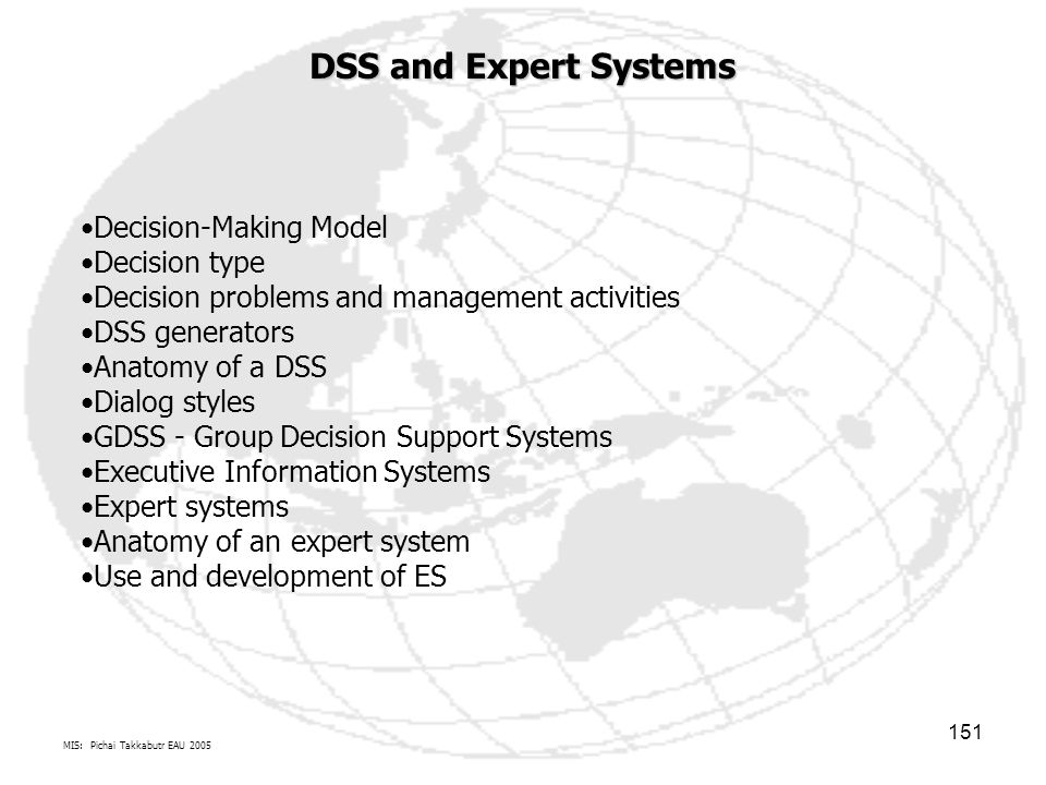 DSS and Expert Systems Decision-Making Model Decision type