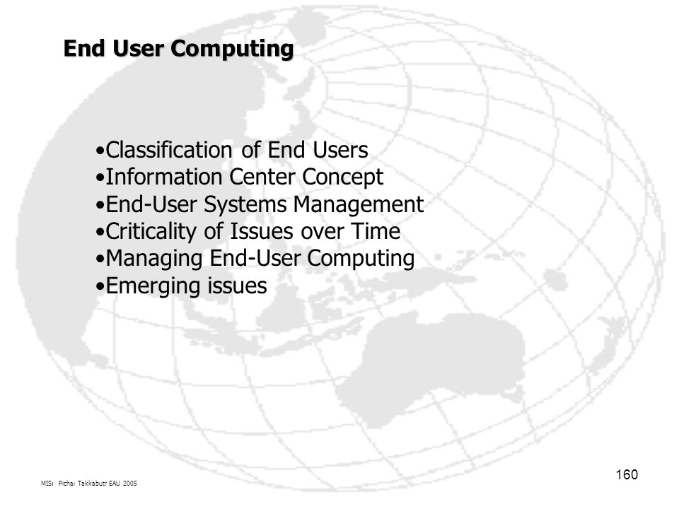 Classification of End Users Information Center Concept