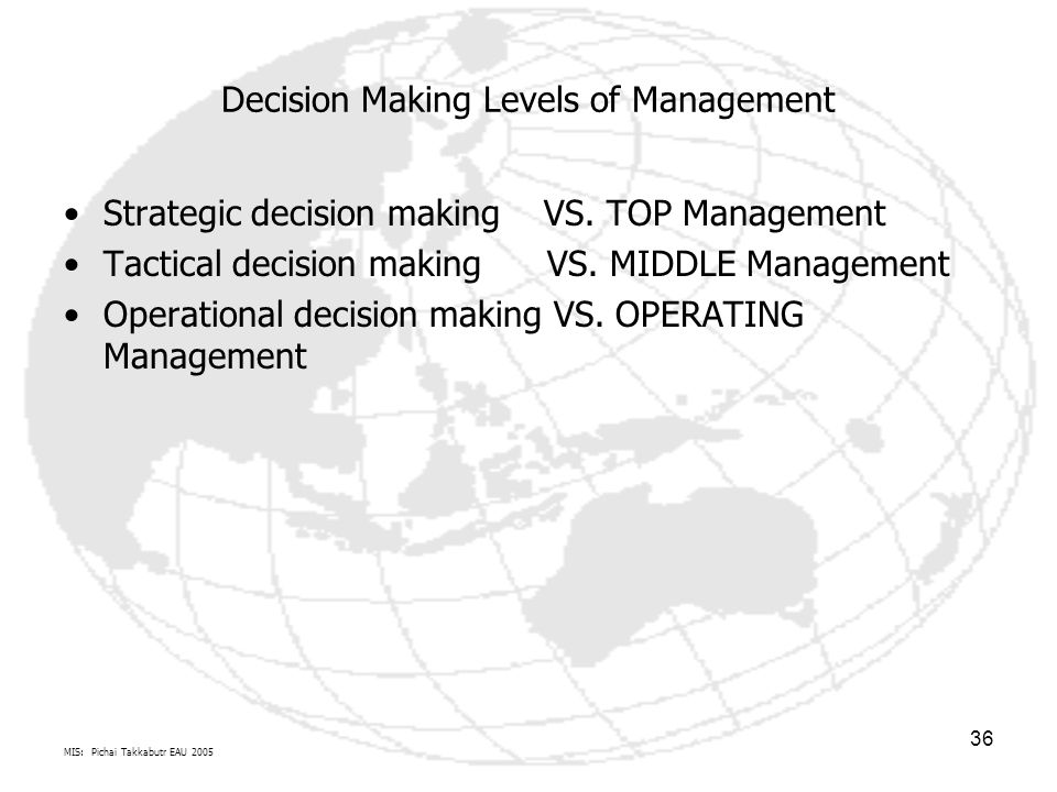 Decision Making Levels of Management