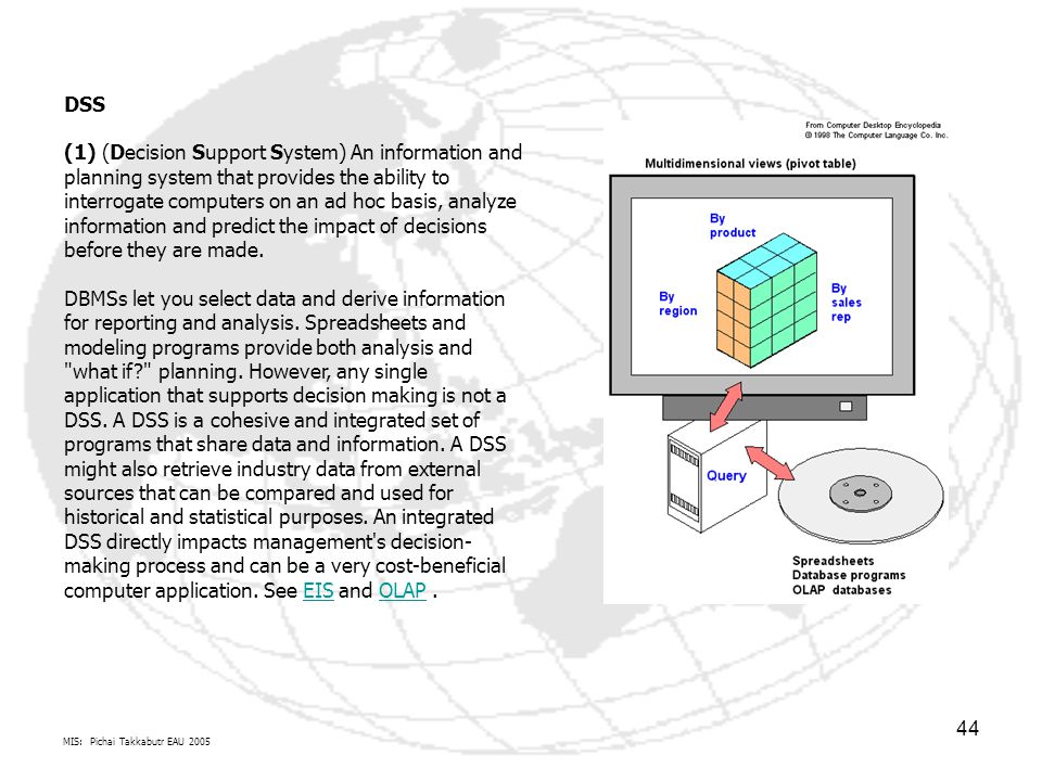 DSS (1) (Decision Support System) An information and planning system that provides the ability to interrogate computers on an ad hoc basis, analyze information and predict the impact of decisions before they are made. DBMSs let you select data and derive information for reporting and analysis. Spreadsheets and modeling programs provide both analysis and what if planning. However, any single application that supports decision making is not a DSS. A DSS is a cohesive and integrated set of programs that share data and information. A DSS might also retrieve industry data from external sources that can be compared and used for historical and statistical purposes. An integrated DSS directly impacts management s decision-making process and can be a very cost-beneficial computer application. See EIS and OLAP .