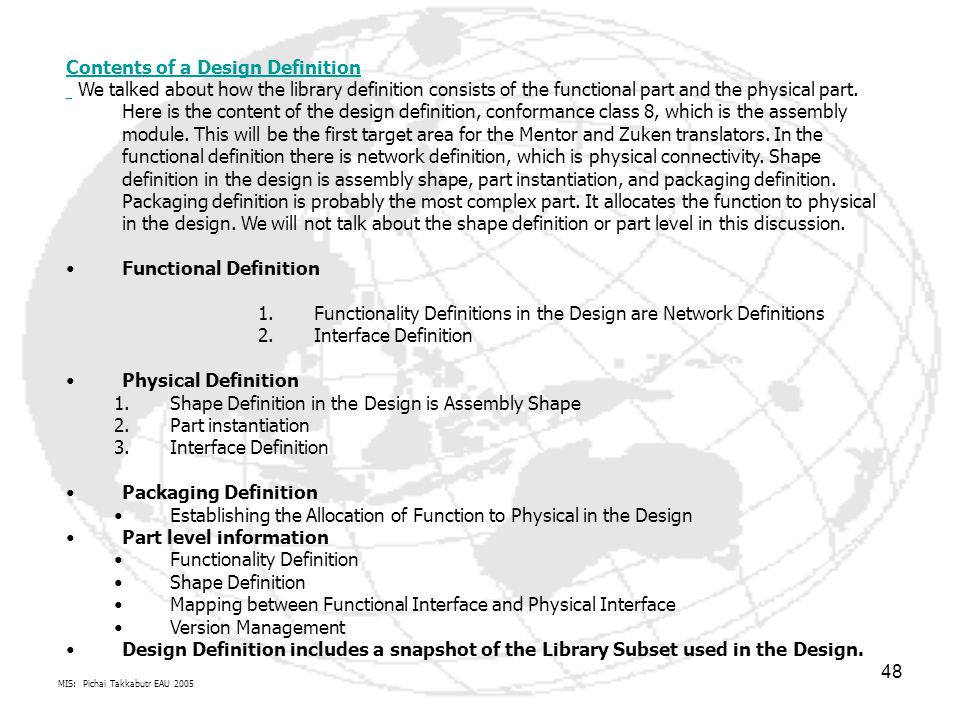 Contents of a Design Definition
