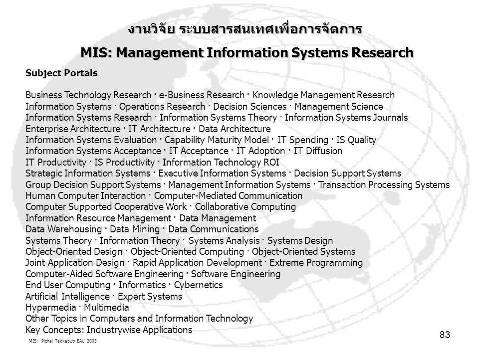 งานวิจัย ระบบสารสนเทศเพื่อการจัดการ