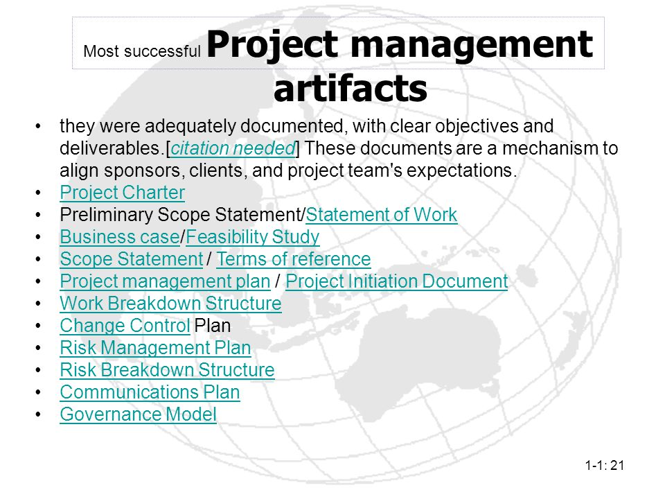 Most successful Project management artifacts