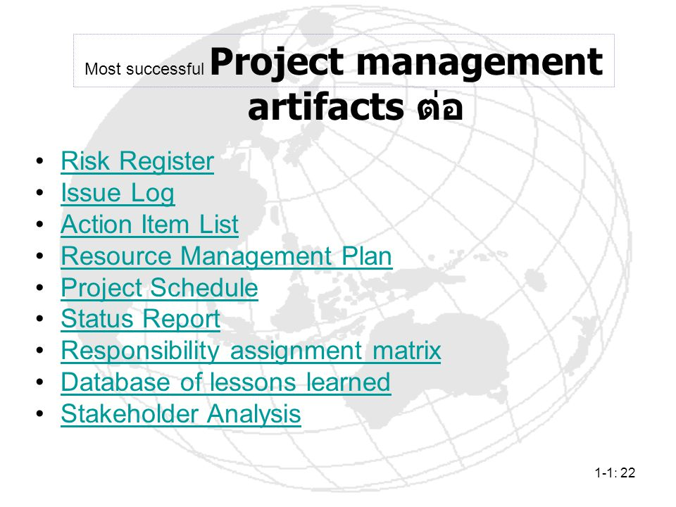 Most successful Project management artifacts ต่อ