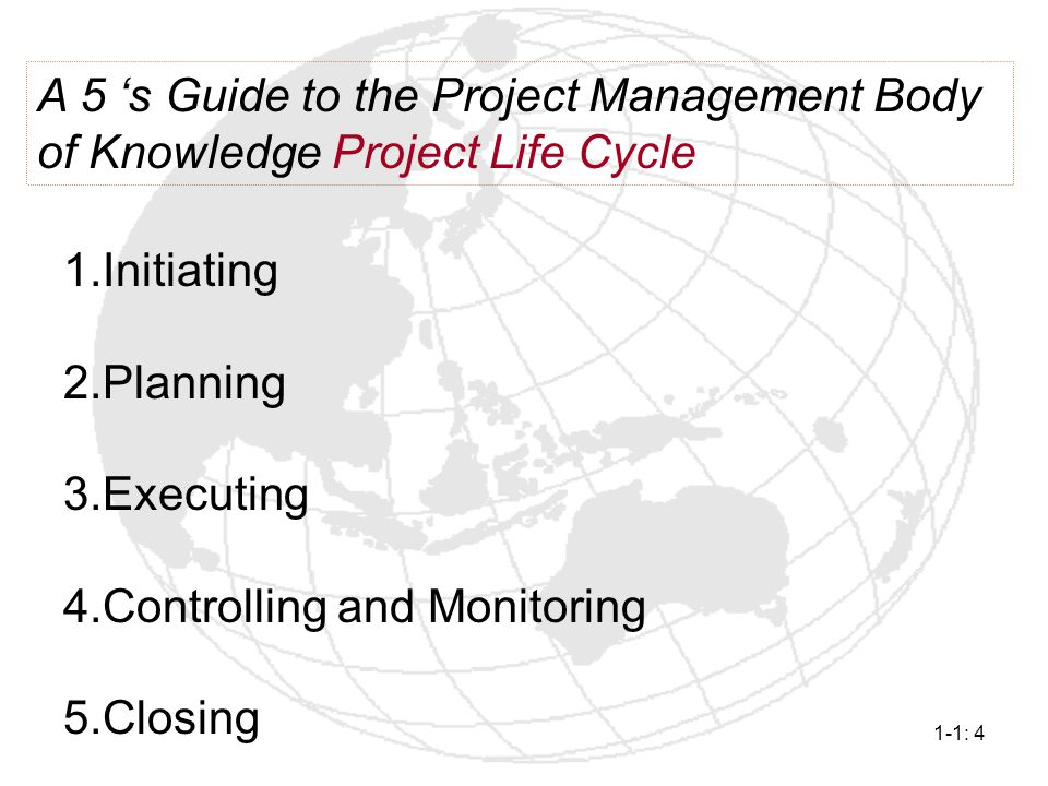 A 5 's Guide to the Project Management Body of Knowledge Project Life Cycle