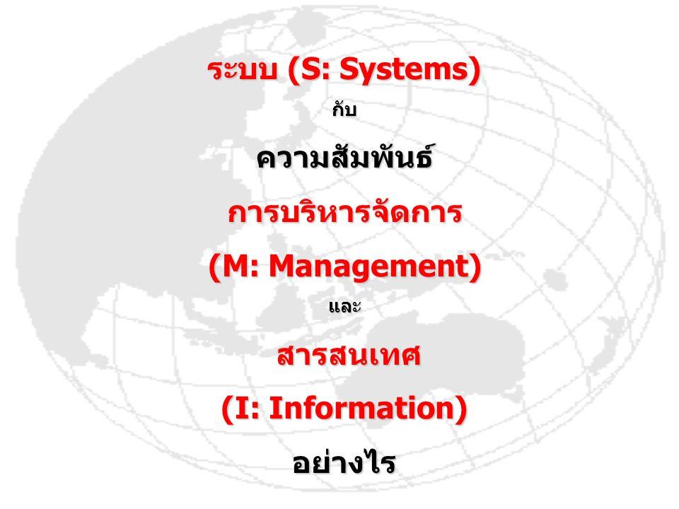 ระบบ (S: Systems) ความสัมพันธ์ การบริหารจัดการ (M: Management)
