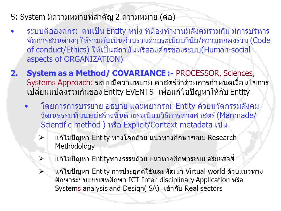 S: System มีความหมายที่สำคัญ 2 ความหมาย (ต่อ)