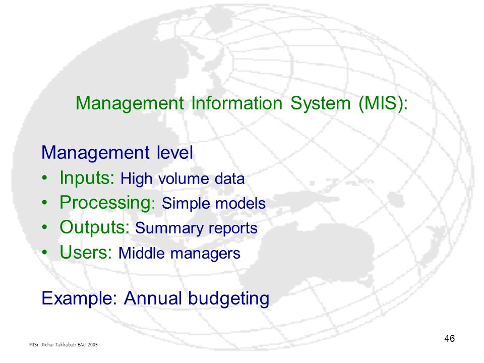 Management Information System (MIS):