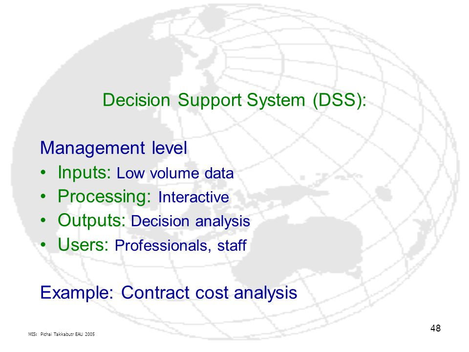 Decision Support System (DSS):
