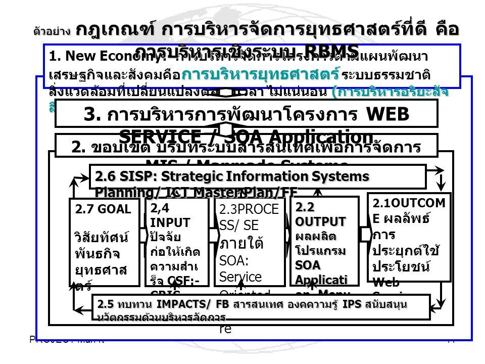 3. การบริหารการพัฒนาโครงการ WEB SERVICE / SOA Application