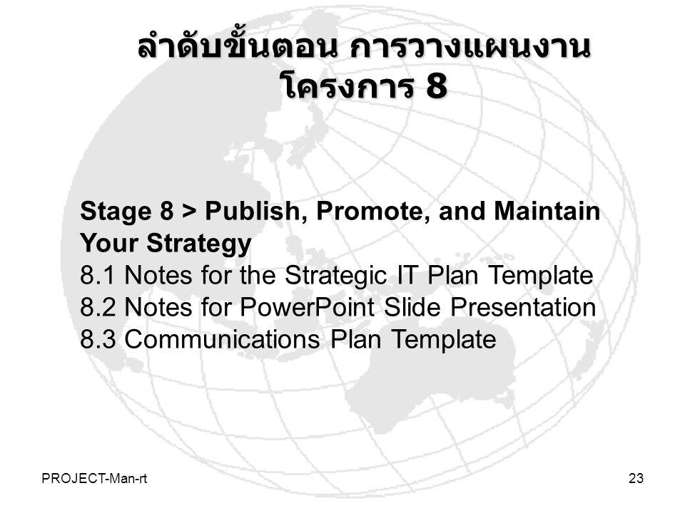 ลำดับขั้นตอน การวางแผนงานโครงการ 8