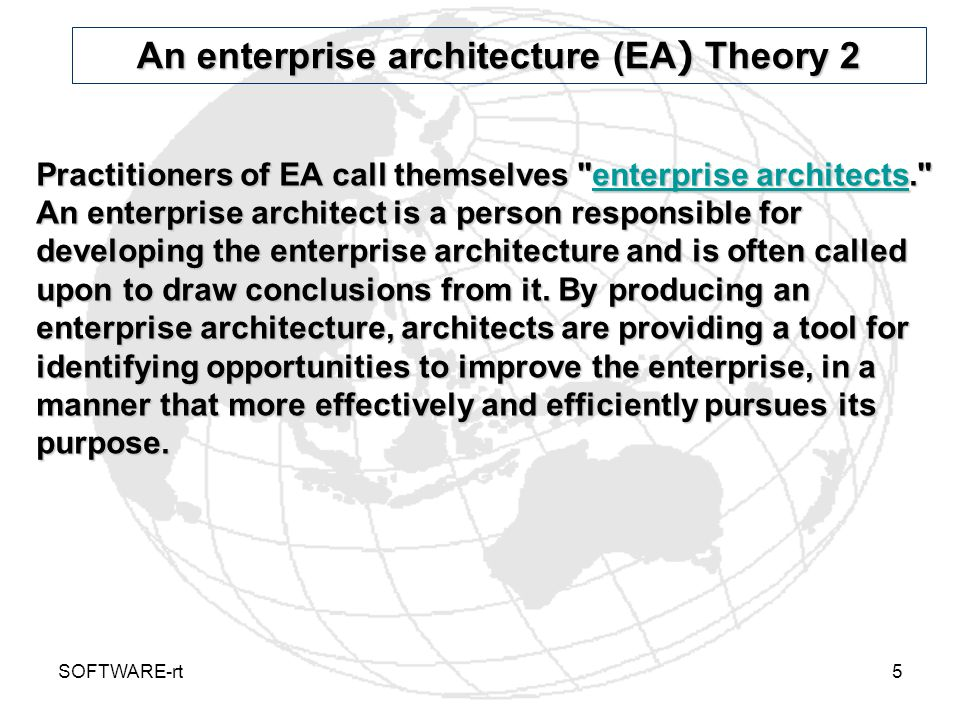 An enterprise architecture (EA) Theory 2