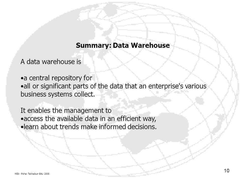 Summary: Data Warehouse