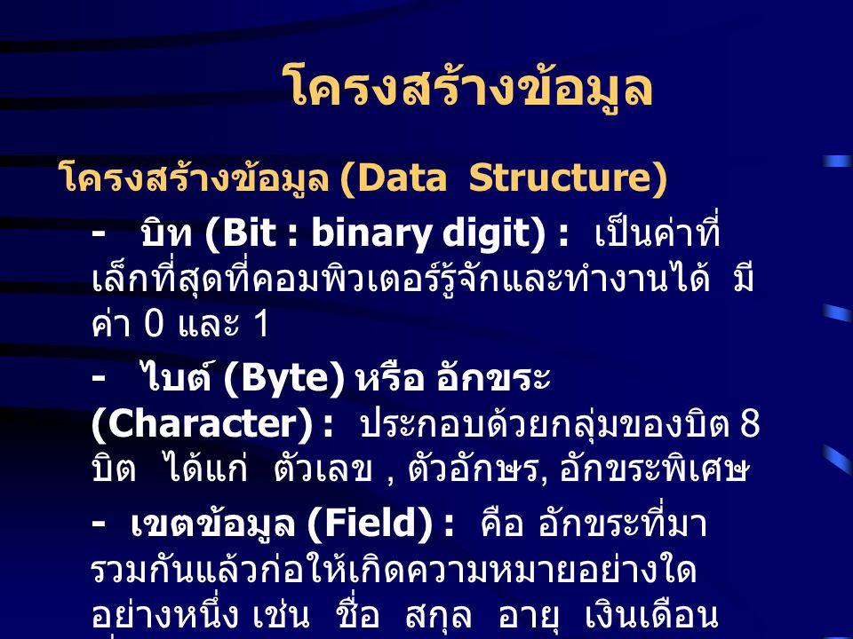 โครงสร้างข้อมูล โครงสร้างข้อมูล (Data Structure)