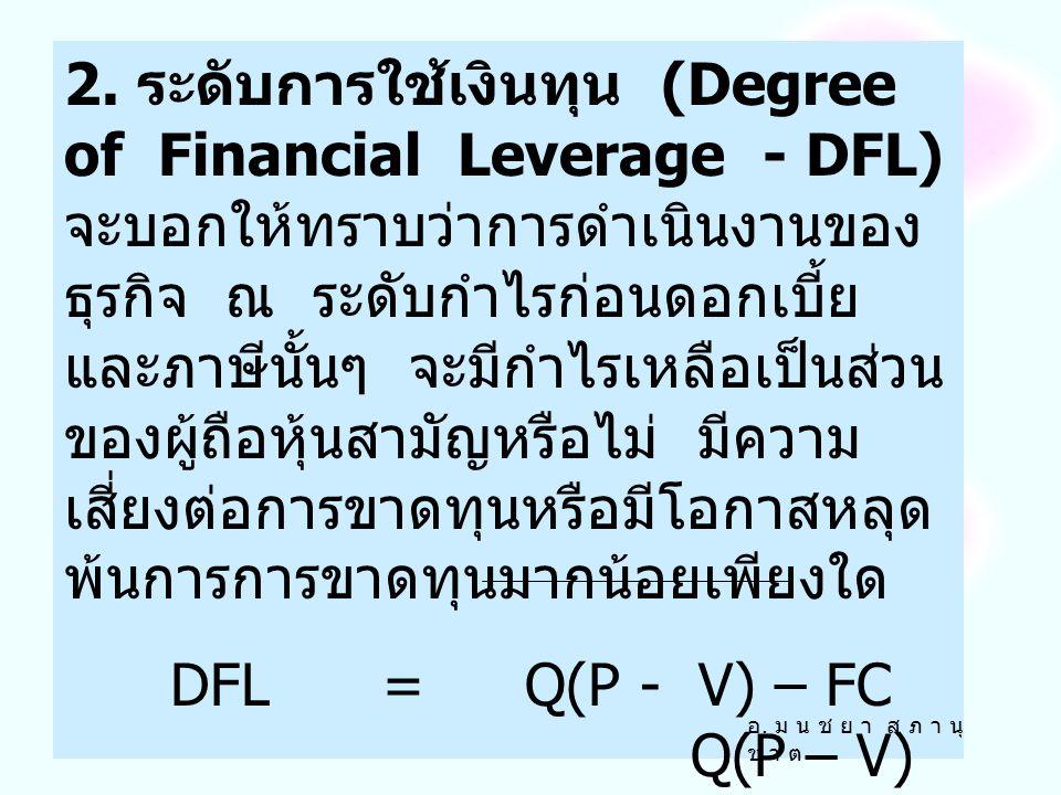 DFL = Q(P - V) – FC Q(P – V) – FC – I