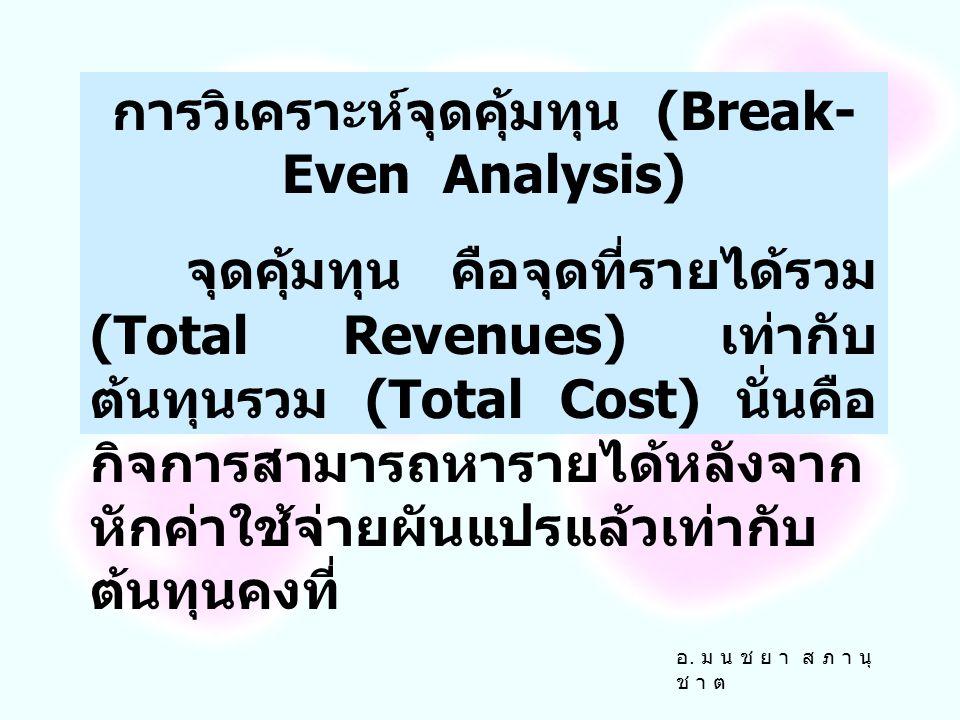 การวิเคราะห์จุดคุ้มทุน (Break-Even Analysis)