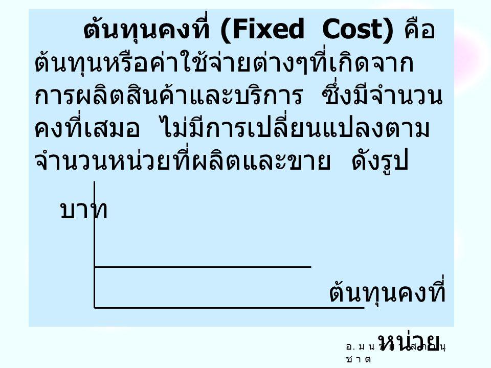 ต้นทุนคงที่ (Fixed Cost) คือ ต้นทุนหรือค่าใช้จ่ายต่างๆที่เกิดจากการผลิตสินค้าและบริการ ซึ่งมีจำนวนคงที่เสมอ ไม่มีการเปลี่ยนแปลงตามจำนวนหน่วยที่ผลิตและขาย ดังรูป
