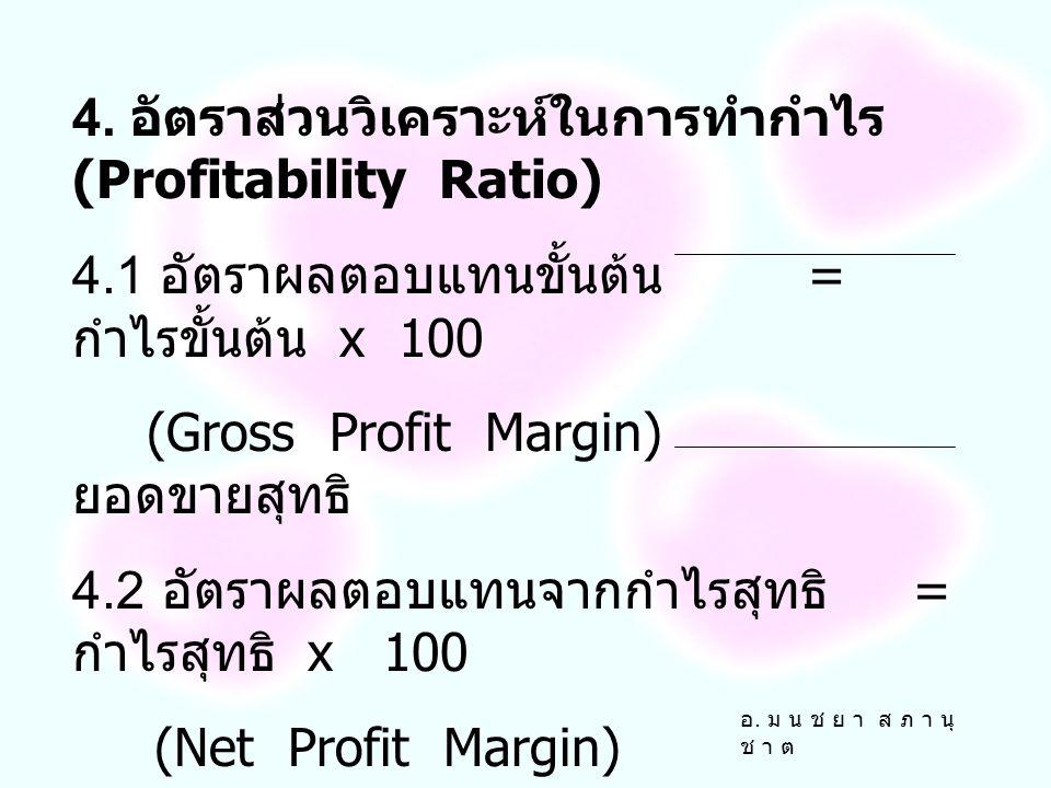 4. อัตราส่วนวิเคราะห์ในการทำกำไร (Profitability Ratio)