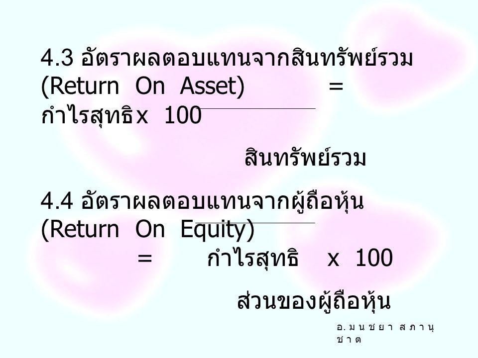 4.3 อัตราผลตอบแทนจากสินทรัพย์รวม (Return On Asset) = กำไรสุทธิ x 100