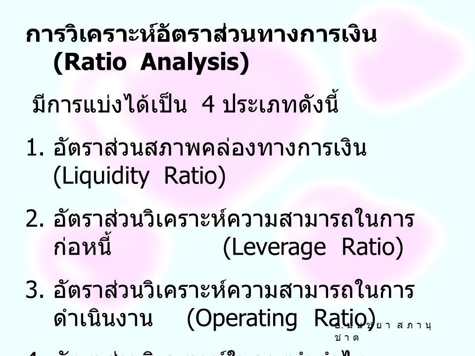 การวิเคราะห์อัตราส่วนทางการเงิน (Ratio Analysis)