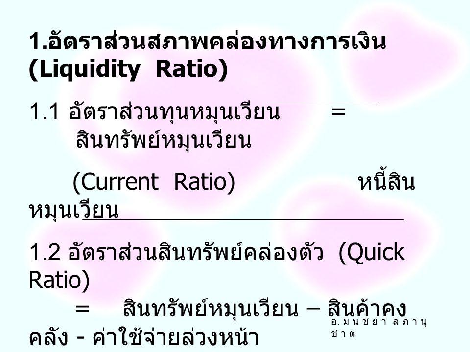 1.อัตราส่วนสภาพคล่องทางการเงิน (Liquidity Ratio)