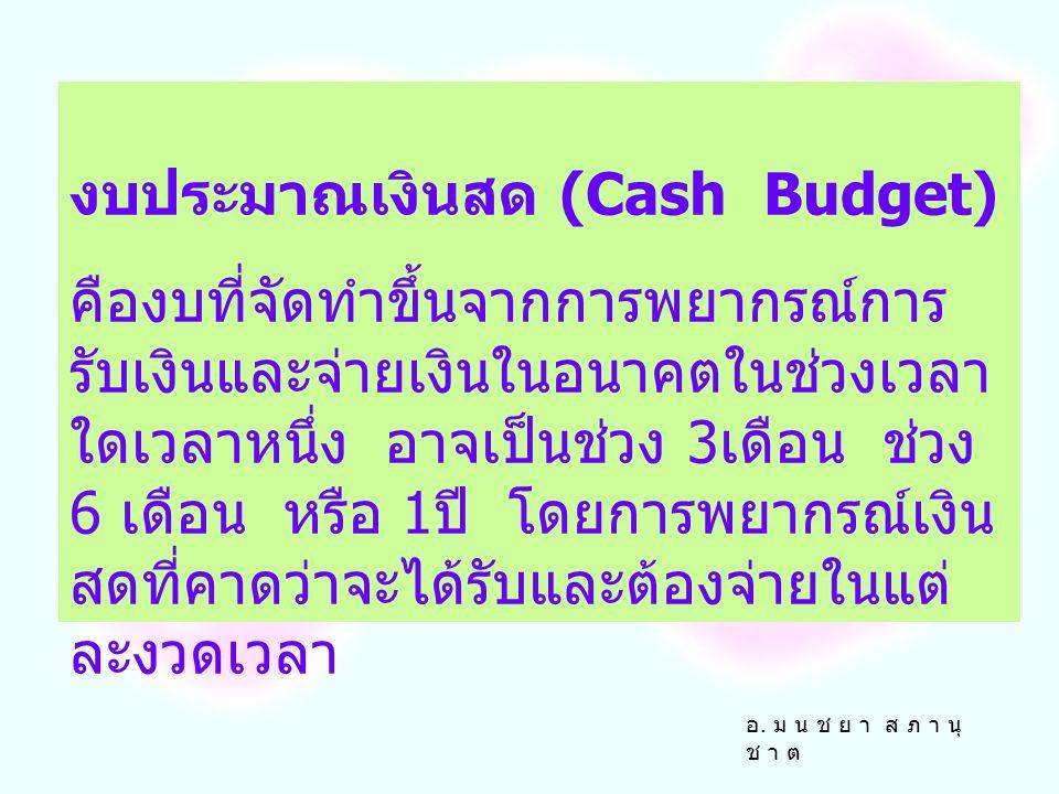 งบประมาณเงินสด (Cash Budget)