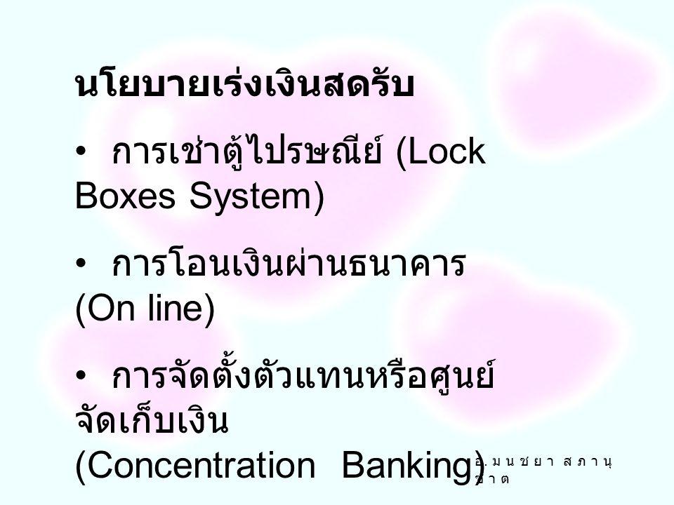 การเช่าตู้ไปรษณีย์ (Lock Boxes System)
