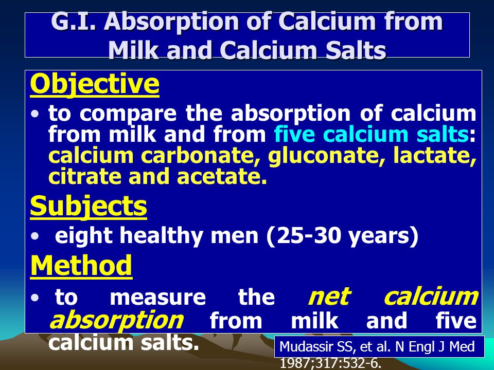 G.I. Absorption of Calcium from Milk and Calcium Salts