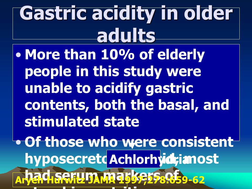 Gastric acidity in older adults