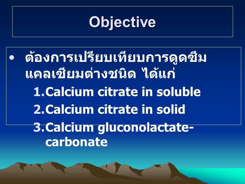 Objective ต้องการเปรียบเทียบการดูดซึมแคลเซียมต่างชนิด ได้แก่