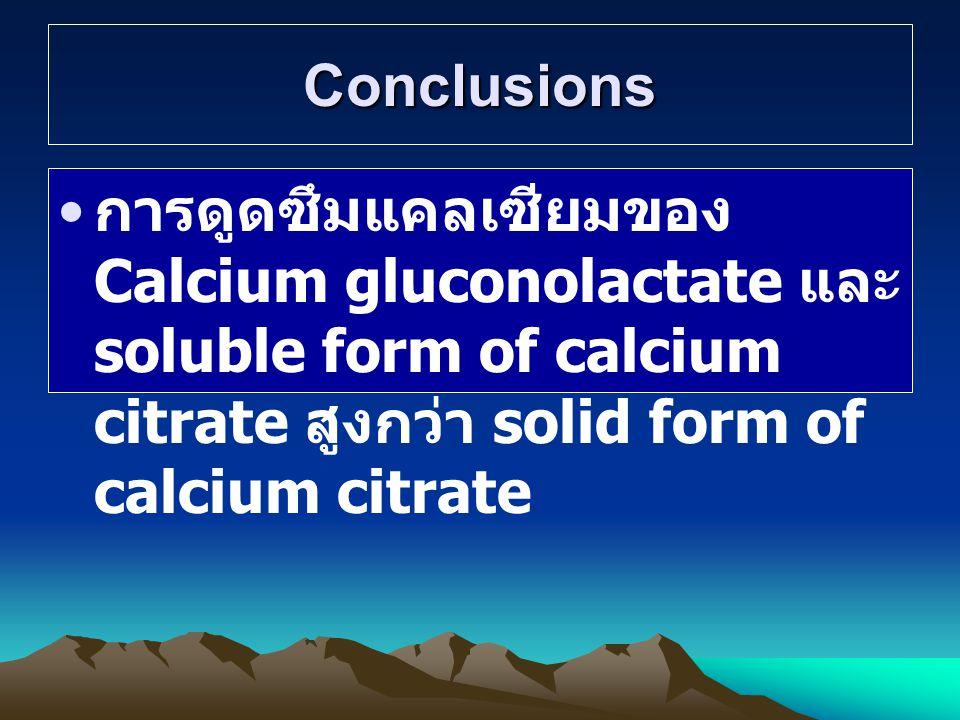 Conclusions การดูดซึมแคลเซียมของ Calcium gluconolactate และ soluble form of calcium citrate สูงกว่า solid form of calcium citrate.