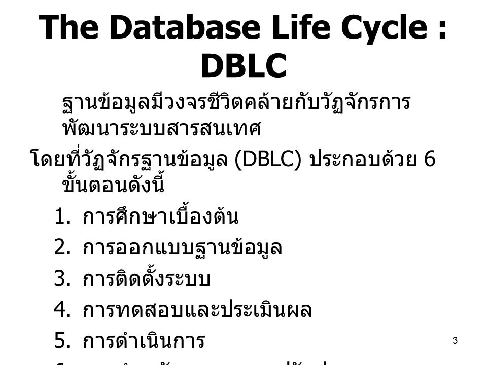 The Database Life Cycle : DBLC