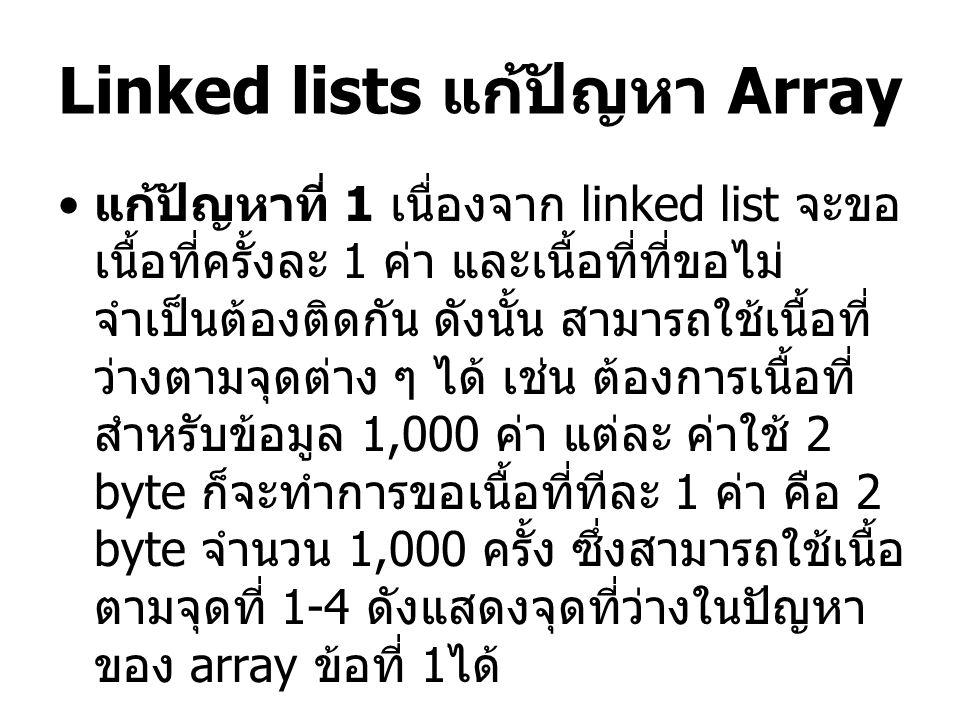 Linked lists แก้ปัญหา Array
